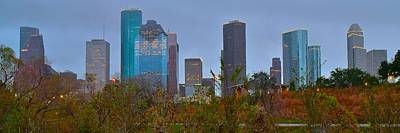 Photograph - Panoramic Houston Evening by Frozen in Time Fine Art Photography