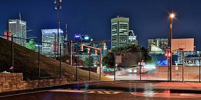 Photograph - Panoramic Inner City Basketball by Frozen in Time Fine Art Photography