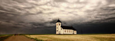 Vermeer Rights Managed Images - Panoramic Lightning Storm and Prairie Church Royalty-Free Image by Mark Duffy
