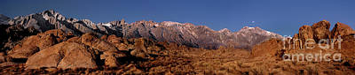 Photograph - Panoramic Moon Set Alabama Hills Eastern Sierras California by Dave Welling