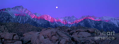 Photograph - Panoramic Moonset Alpenglow Alabama Hills Eastern Sierras California by Dave Welling