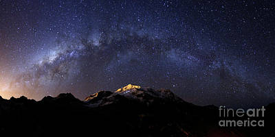 Astro Photograph - Panoramic Of Milky Way Above Mt Huayna Potosi Bolivia by James Brunker
