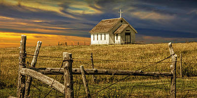 Photograph - Panoramic Of Old Rural Country Church At Sunset On The Prairie by Randall Nyhof