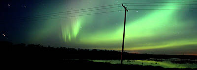 Surrealism Digital Art Rights Managed Images - Panoramic Prairie Northern Lights Royalty-Free Image by Mark Duffy