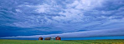 Cloudscape Digital Art - Panoramic Prairie Storm  by Mark Duffy
