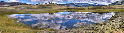 Photograph - Panoramic Reflection In The Yellowstone Wetlands by Adam Jewell