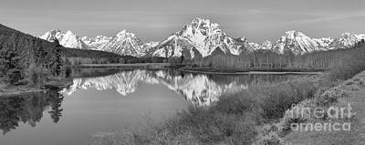 Panoramic Reflections At Oxbow Black And White Art Print by Adam Jewell