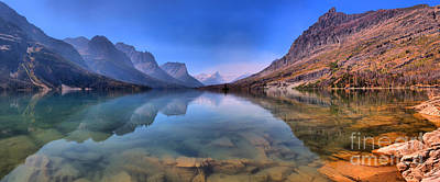Photograph - Panoramic Reflections In St. Mary Lake by Adam Jewell
