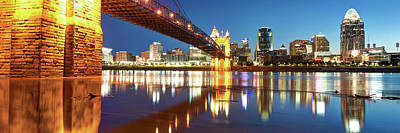 Photograph - Panoramic Reflections Of The Cincinnati Ohio Skyline by Gregory Ballos