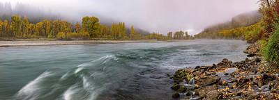 Panoramic River Autumn Art Print by Leland D Howard