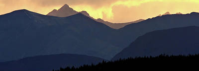 Park Scene Digital Art - Panoramic Rocky Mountain View At Sunset by Mark Duffy
