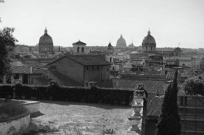 Photograph - Panoramic Rome Skyline Domes From The Back Of Capitoline Hill Black And White by Shawn O'Brien