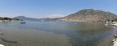 Painting - Panoramic Seascape Of The Bay Of Selimiye, Turkey by Tracey Harrington-Simpson