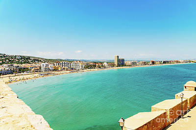 Panoramic Skyline View Of Peniscola City Beach Resort At Mediterranean Sea In Spain Art Print