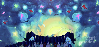 Panoramic Starry Sky Art Print by Cathy Jacobs