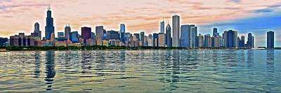 Photograph - Panoramic Sundown In The Windy City by Frozen in Time Fine Art Photography