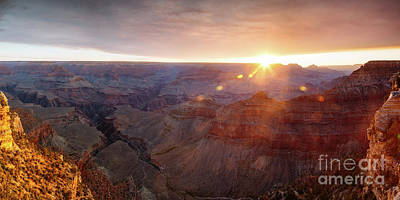 Photograph - Panoramic Sunrise Over Mather Point, Grand Canyon, Usa by Matteo Colombo
