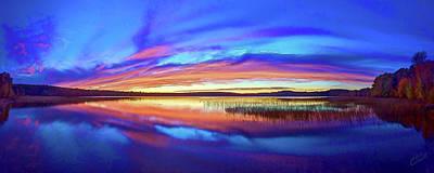 Digitally Manipulated Photograph - Panoramic Sunset At Round Lake by ABeautifulSky Photography by Bill Caldwell