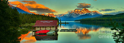 Photograph - Panoramic Sunset Glow At Maligne Lake by Adam Jewell