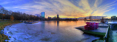 Panoramic Sunset Over The Boston Skyline Art Print by Joann Vitali
