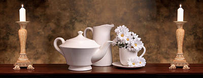 Candle Lit Photograph - Panoramic Teapot With Daisies by Tom Mc Nemar