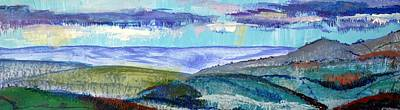 Painting - Panoramic View From Exeter Of Devon Hills by Mike Jory