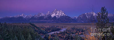 Photograph - Panoramic View Of Alpenglow Grand Tetons National Park by Dave Welling