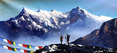 Panoramic View Of Ama Dablam Peak Everest Mountain Art Print by Whimsy Art