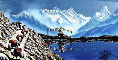 Himalaya Painting - Panoramic View Of Annapurna Mountain Nepal by Whimsy Art