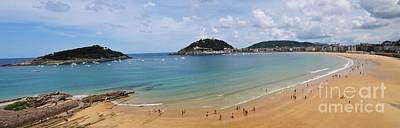 Photograph - Panoramic View Of Beautiful Beach, San Sebastian, Spain  by Akshay Thaker 'PhotOvation'