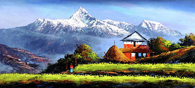 Panoramic View Of Beautiful Everest Mountain Art Print by Whimsy Art