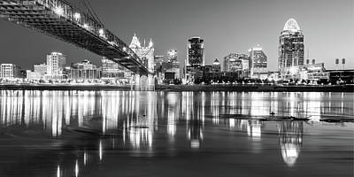 Photograph - Panoramic View Of Cincinnati Ohio - Black And White City Skyline by Gregory Ballos