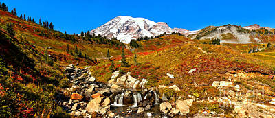 Photograph - Panoramic View Of Edith Creek At Mt. Rainier by Adam Jewell
