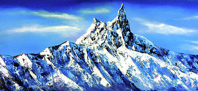 Panoramic View Of Everest Mountain Peak Art Print by Whimsy Art