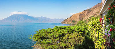 Photograph - Panoramic View Of Lake Atitlan And San Pedro Volcano From A Resort by Daniela Constantinescu