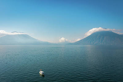 Photograph - Panoramic View Of Lake Atitlan And Volcanoes San Pedro And Toliman In Guatemala by Daniela Constantinescu