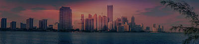 Panoramic View Of Miami At Sunset Art Print