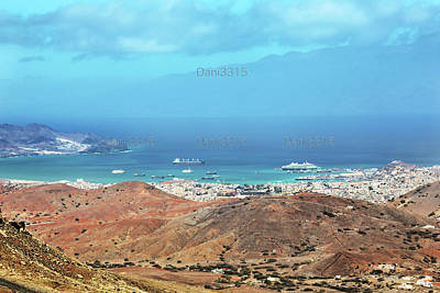 Volcano Photograph - Panoramic View Of Mindelo City, Cape Verde by Dani Prints and Images