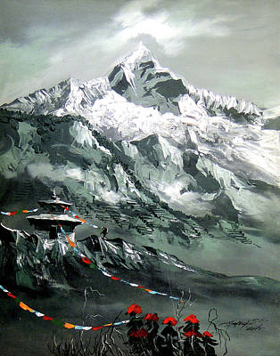 Panoramic View Of Mountain Everest Art Print by Whimsy Art