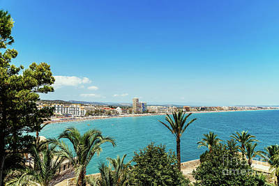 Panoramic View Of Peniscola City Holiday Beach Resort At Mediterranean Sea In Spain Art Print