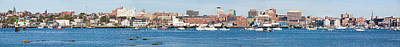 Panoramic View Of Portland Harbor Boats Art Print