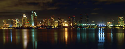 Panoramic View Of San Diego At Night Art Print by George Oze