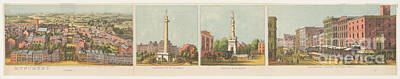 Photograph - Panoramic View Of The City Of Baltimore 2 by Edward Fielding