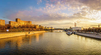 Photograph - Panoramic View Of The Moscow River by Alexey Stiop