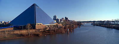 Panoramic View Of The Pyramid Sports Art Print by Panoramic Images