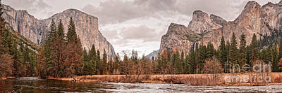 Panoramic View Of Yosemite Valley From Bridal Veils Falls Viewing Point - Sierra Nevada California Print by Silvio Ligutti