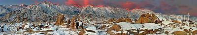 Photograph - Panoramic Winter Sunrise Alabama Hills Eastern Sierras California by Dave Welling