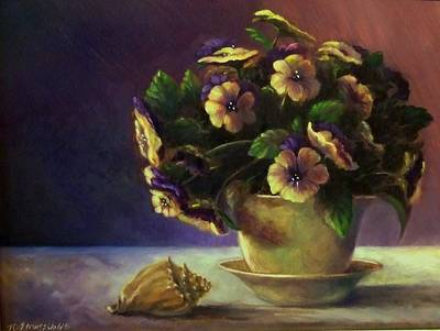Pansies And Celadon Art Print by Ruth Stromswold