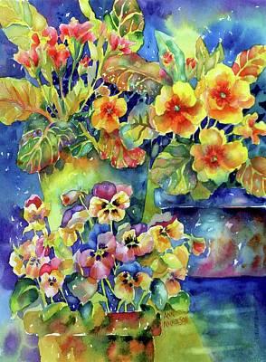 Pansies And Primroses Art Print