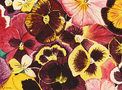 Pansies Competing For Attention Art Print